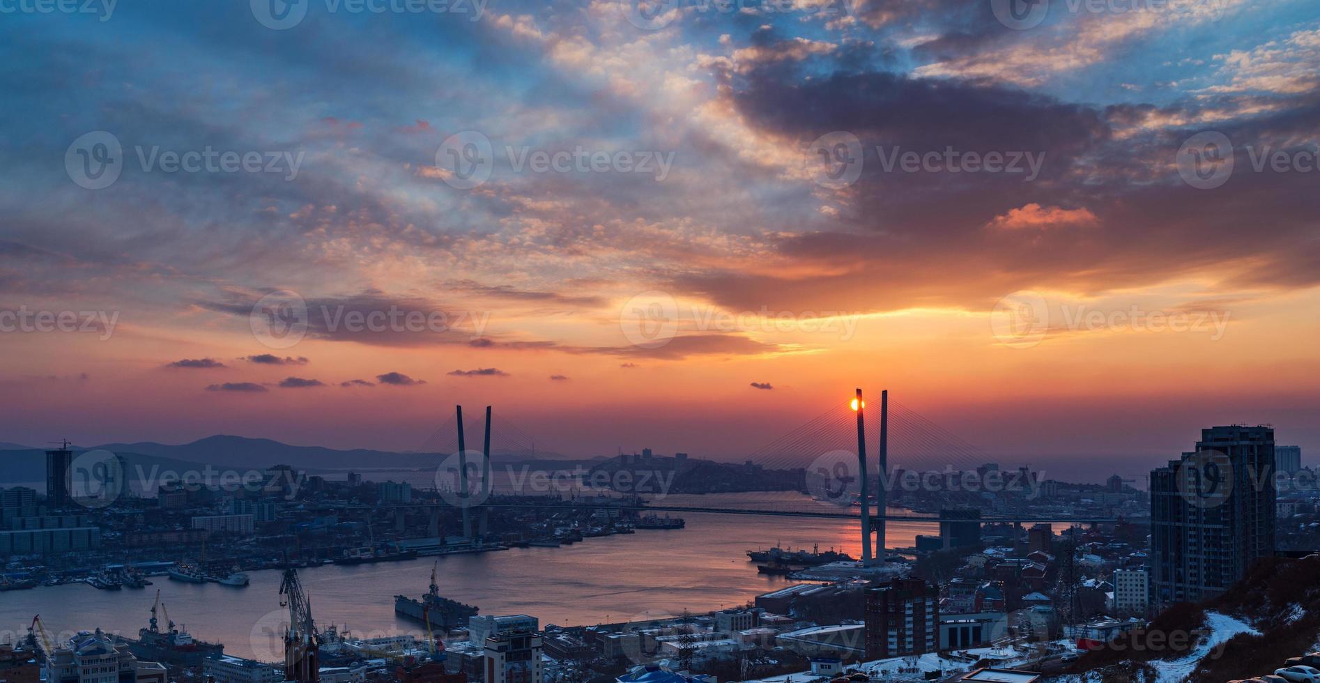 paysage urbain, coucher de soleil. photo