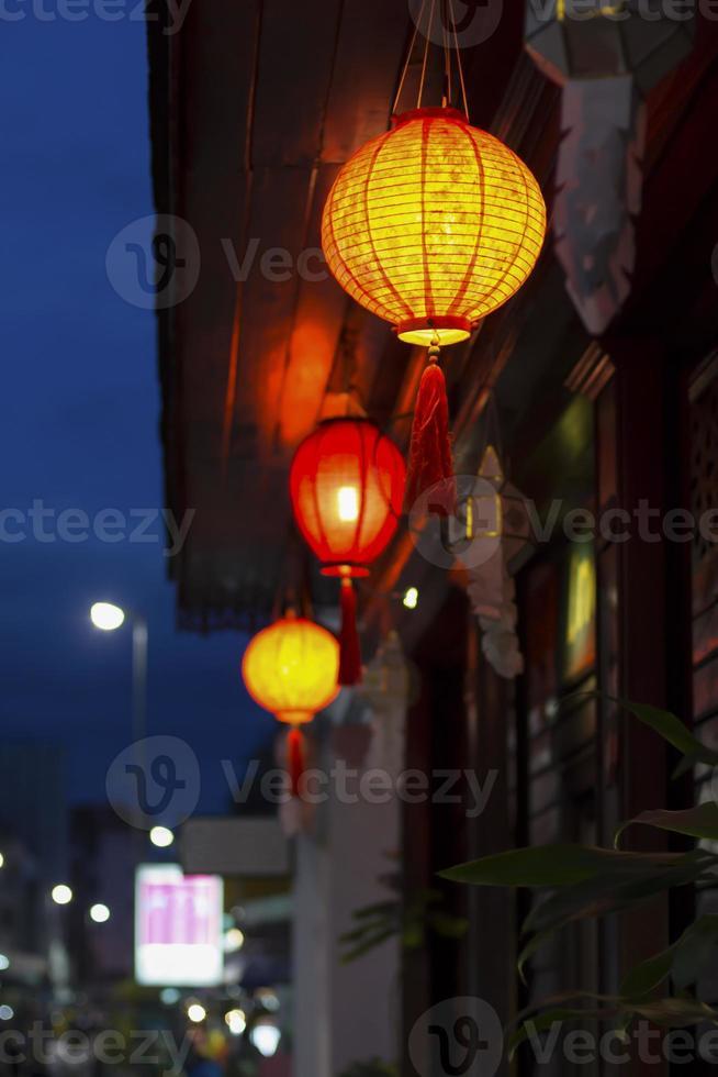 lanternes chinoises au centre-ville photo