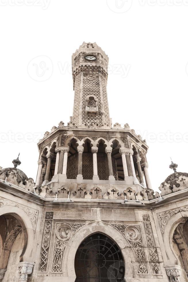 tour de l'horloge isolé sur blanc, izmir, turquie photo