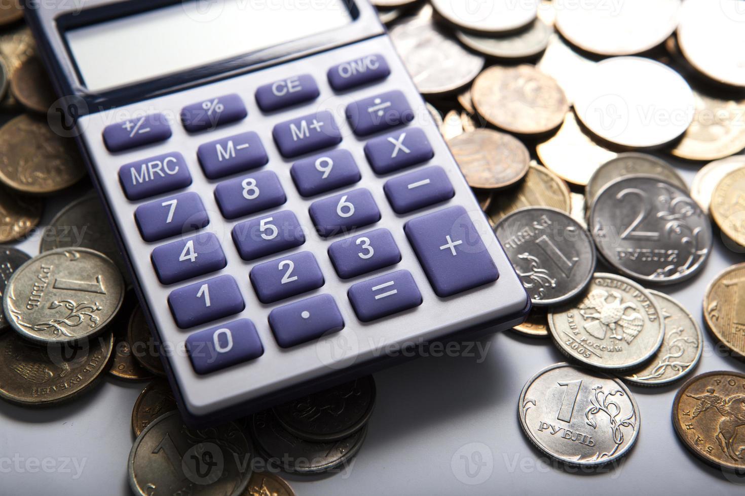 poignée de roubles russes avec calculatrice photo