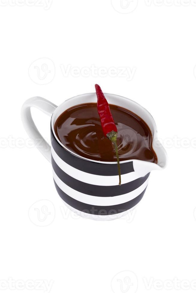 tasse de chocolat avec du piment au-dessus photo