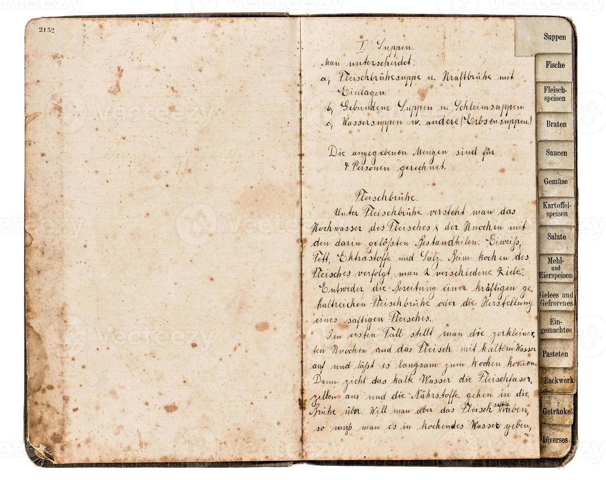 livre de recettes antique avec texte manuscrit photo