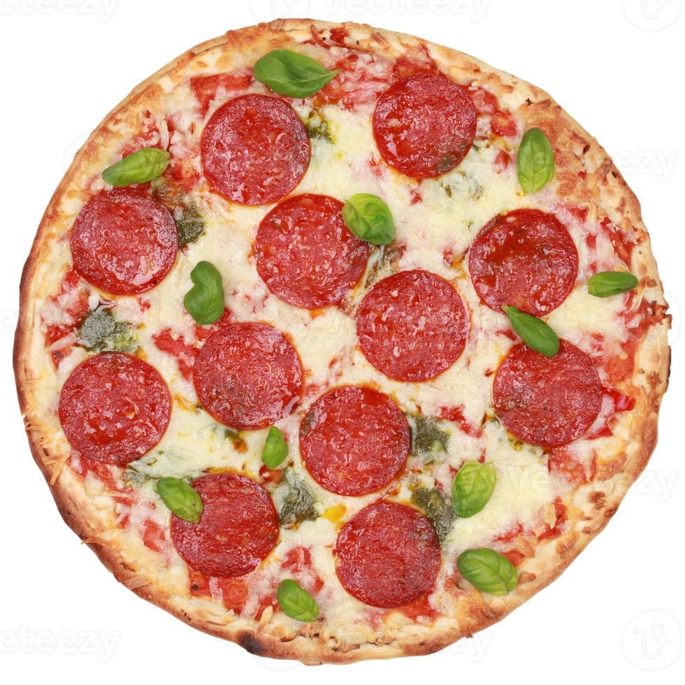 salami pizza photo