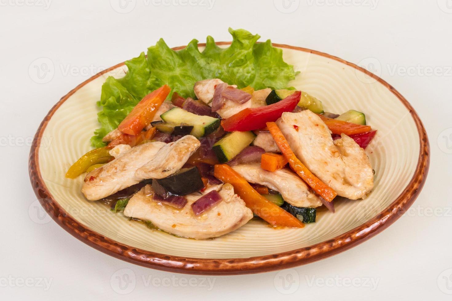 légumes grillés et filet de poulet photo