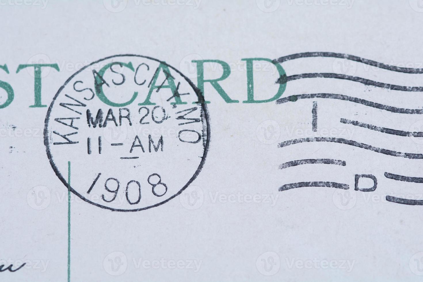 Marque de poste de la ville de kansas sur la carte postale 1908 photo