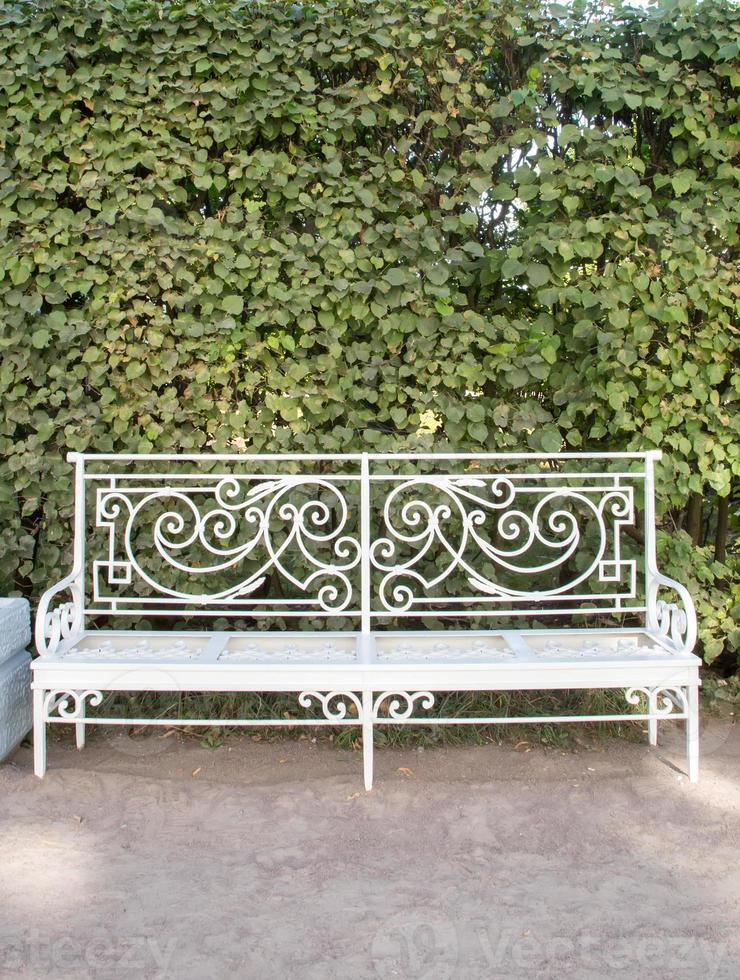 banc blanc dans le parc catherine à tsarskoïe selo (pushkin) photo