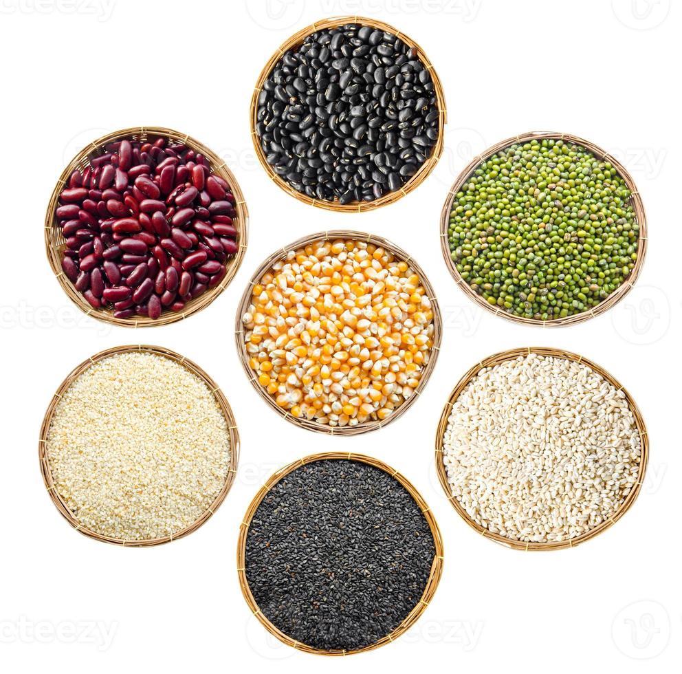 ensemble de grains de graines de céréales. photo