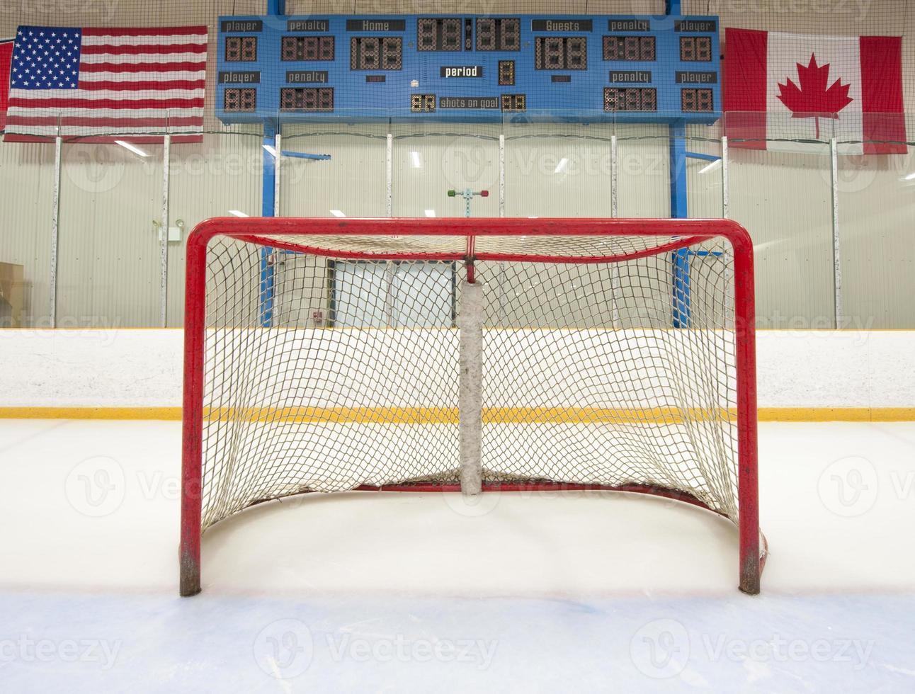filet de hockey avec tableau d'affichage photo