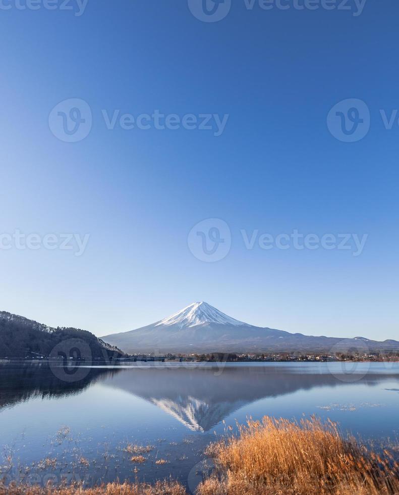 le mont fuji depuis le lac kawaguchiko photo