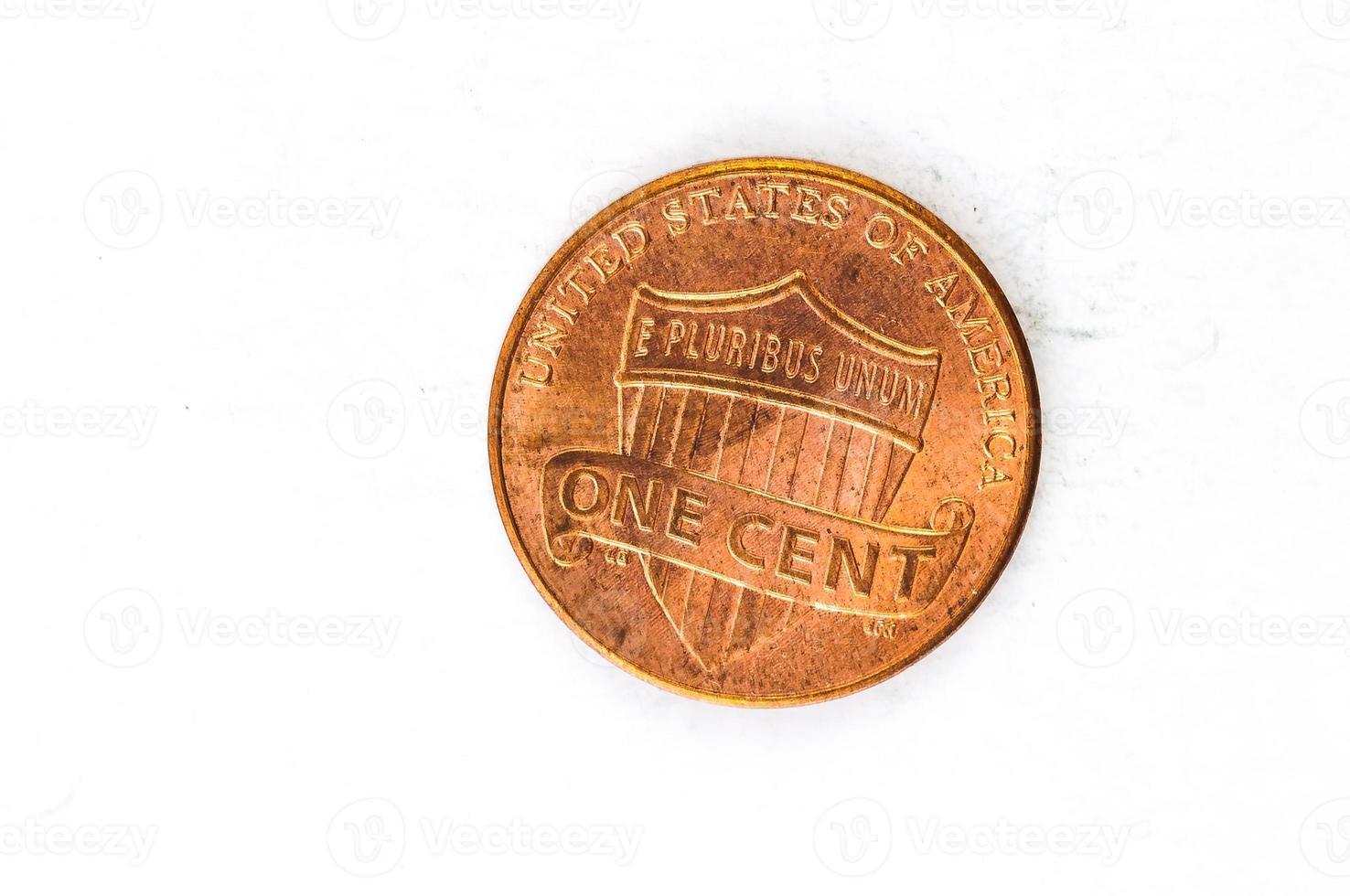 Pièce de 1 centime de cuivre en Dieu en qui nous avons confiance photo