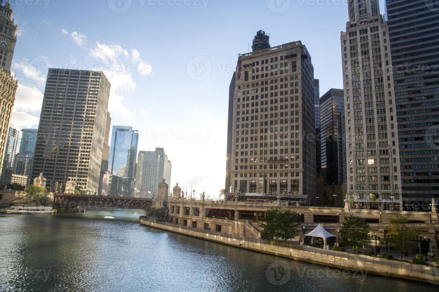 usa - illinois - chicago, chicago river skyline photo