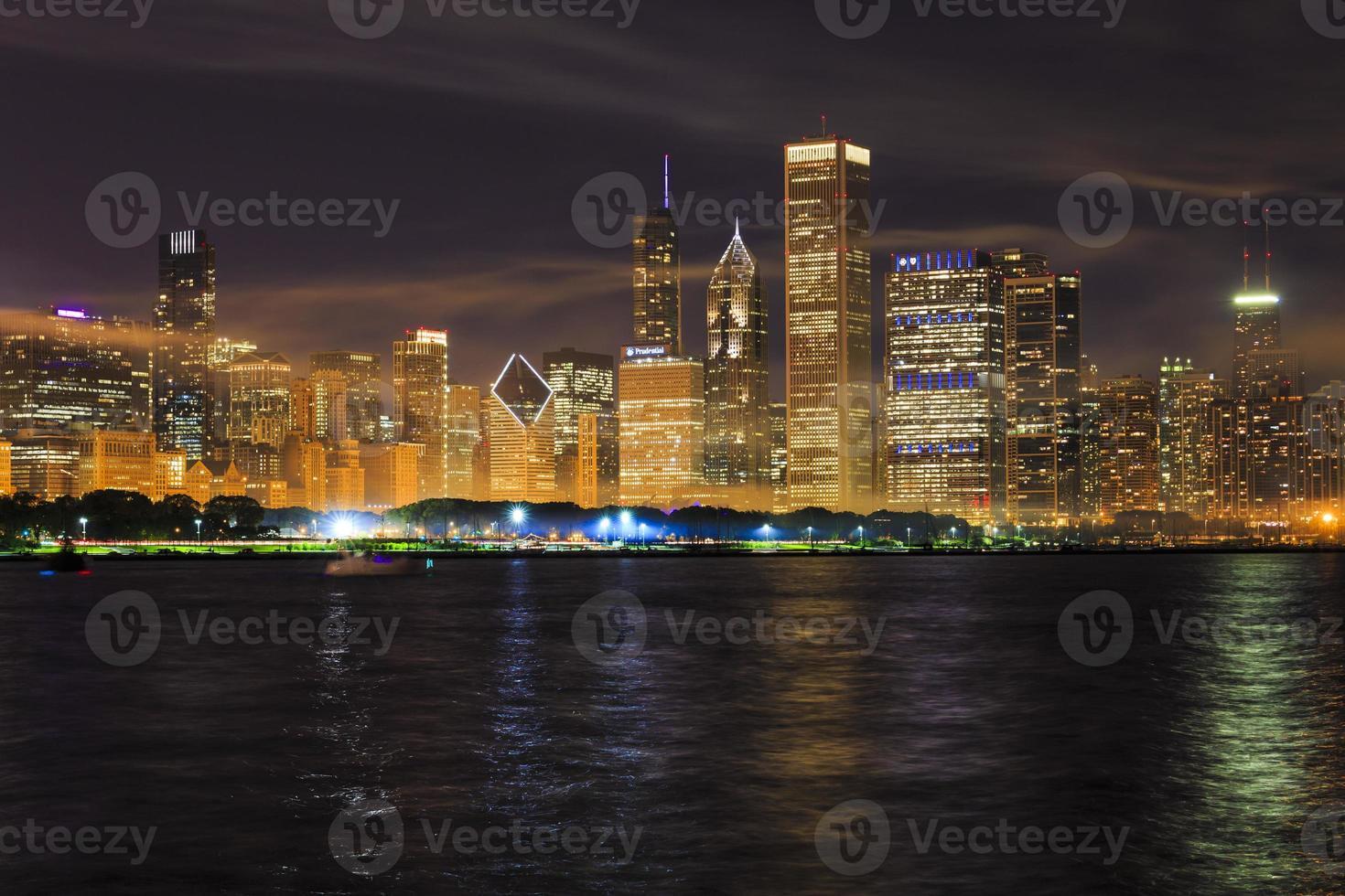 Chicago skyline at night photo