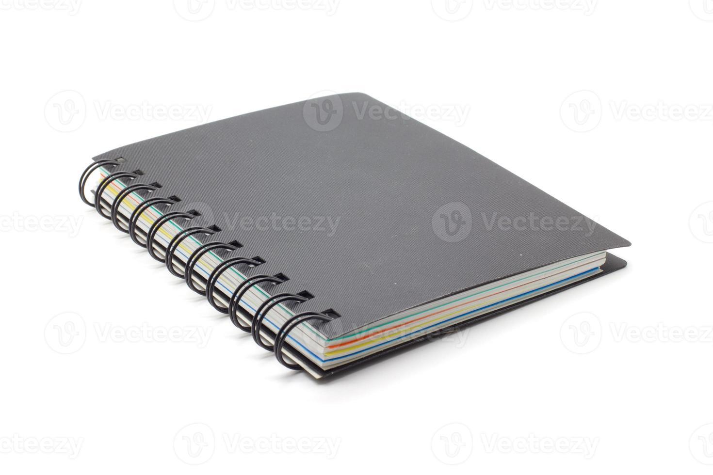cahier noir isolé photo