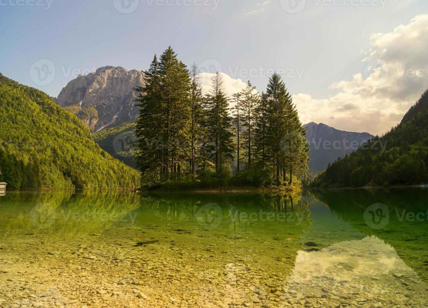 alpejskie jezioro w alpach julijskich-lago del predil photo