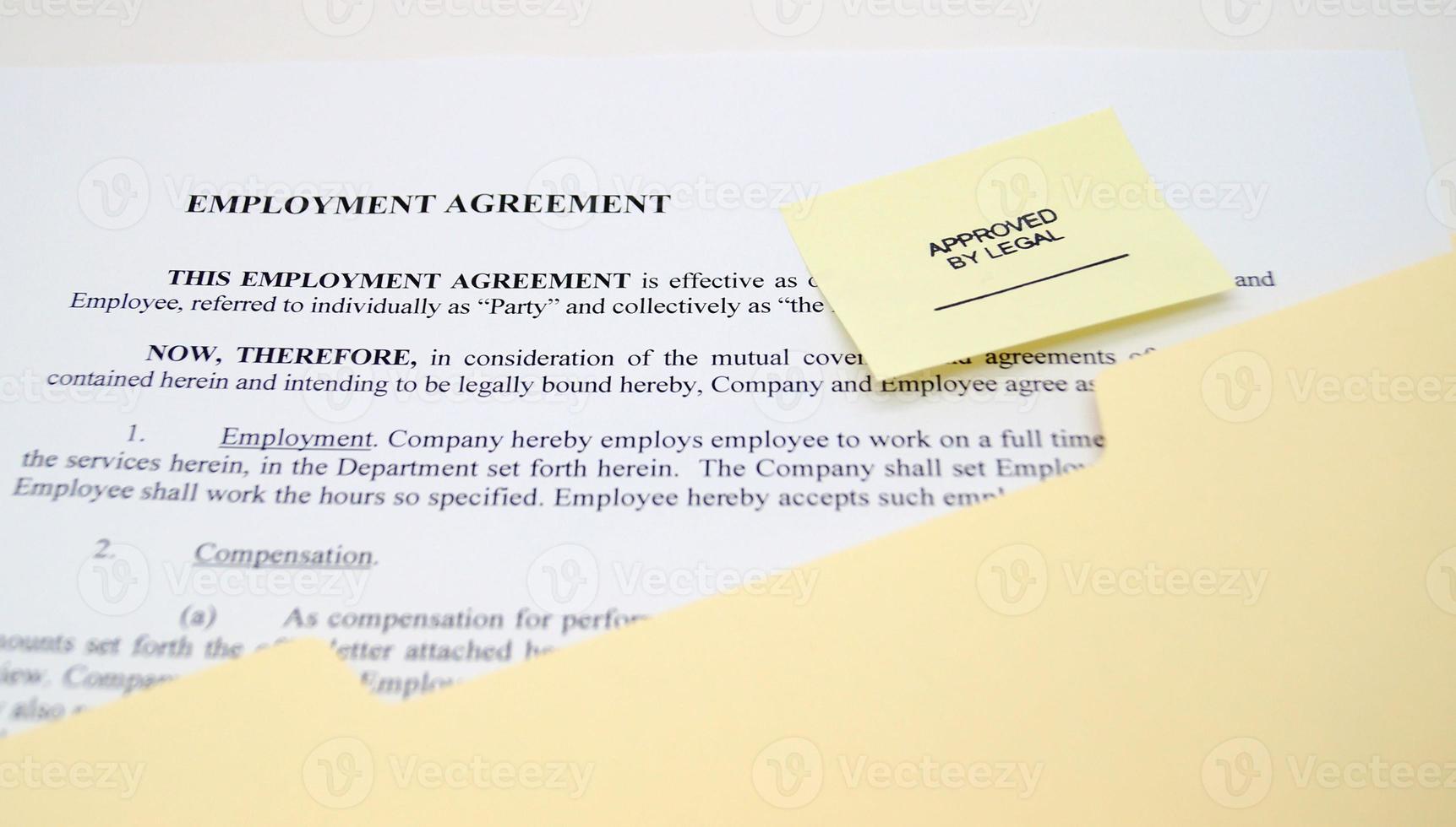 contrat d'embauche photo