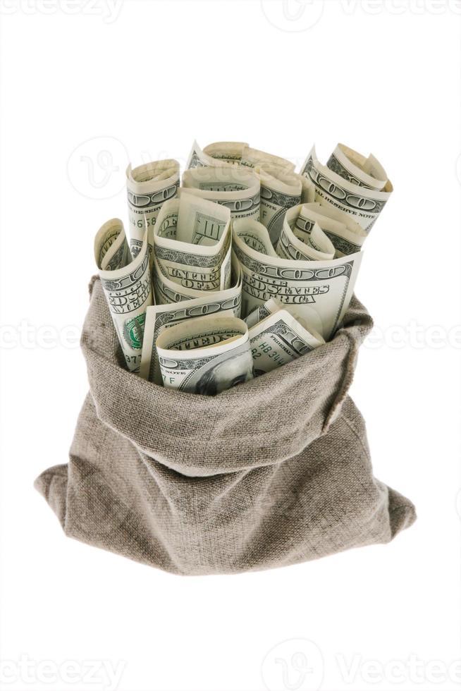 billets d'un dollar dans un sac photo