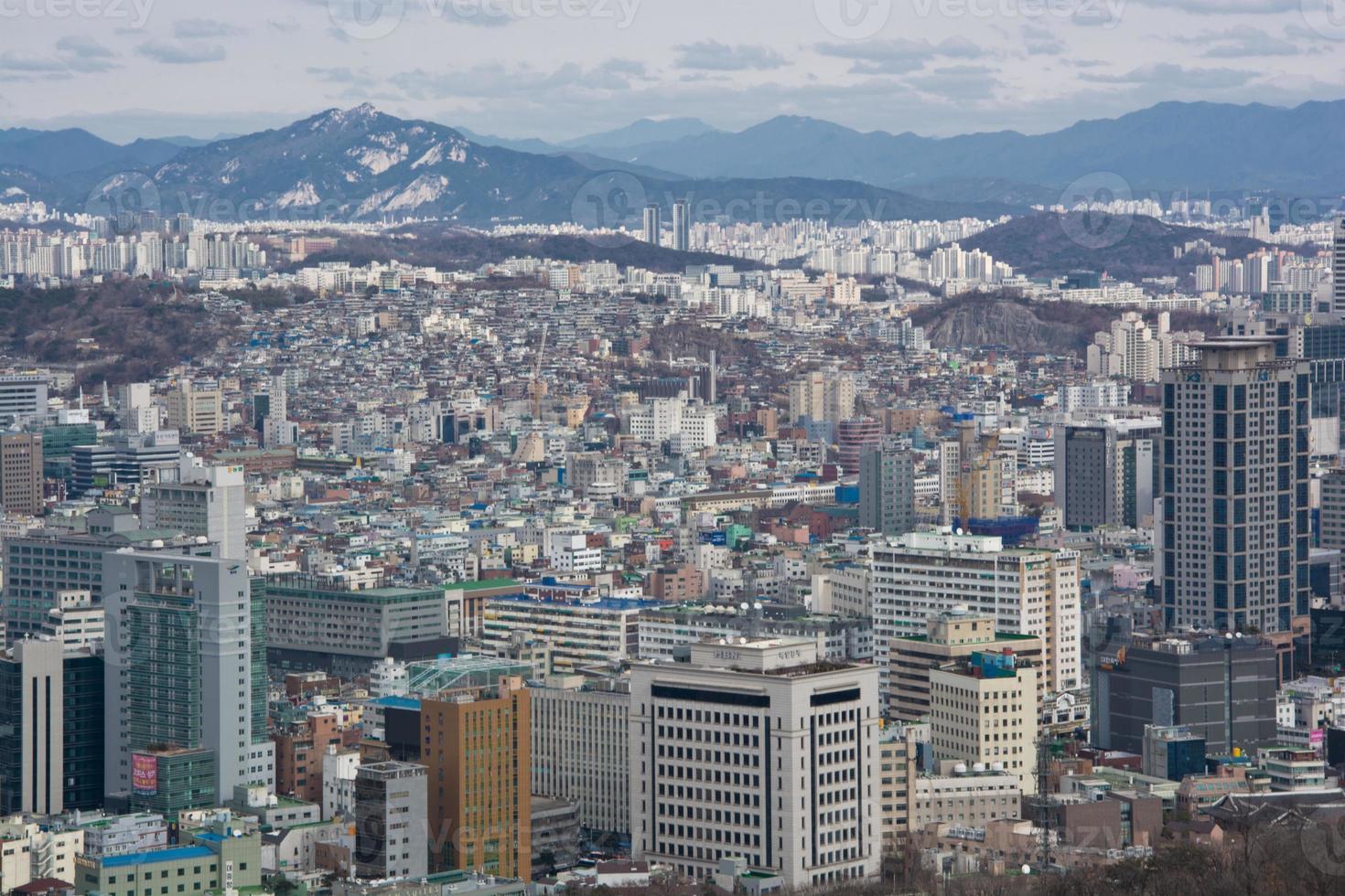 Vue aérienne du paysage urbain de Séoul photo