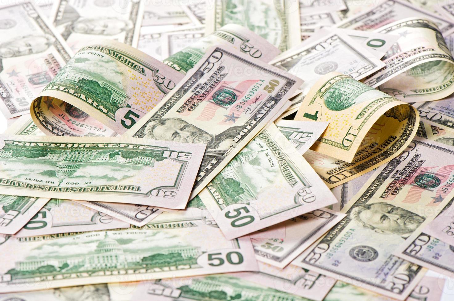 dollars américains. fond d'argent. investissement photo