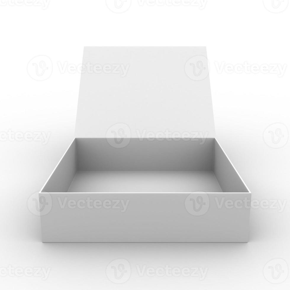 Boîte carrée ouverte vide sur fond blanc photo