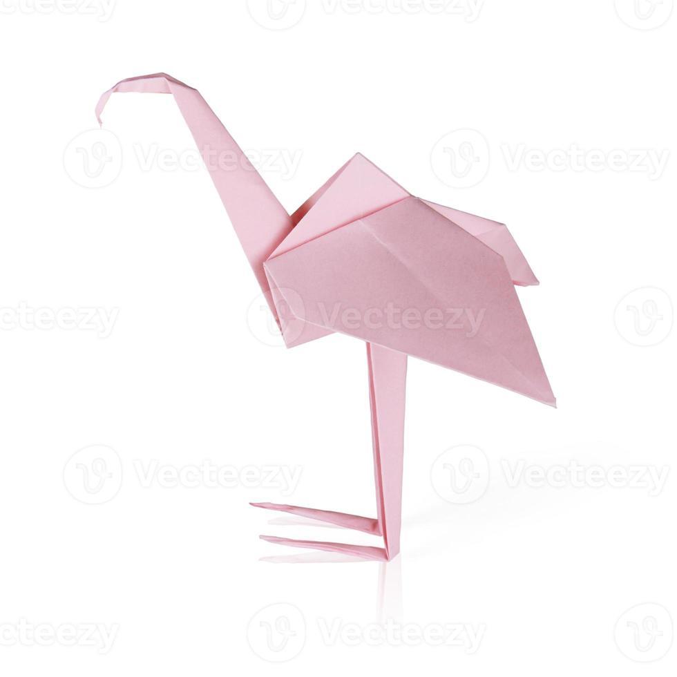 flamant rose en papier origami photo