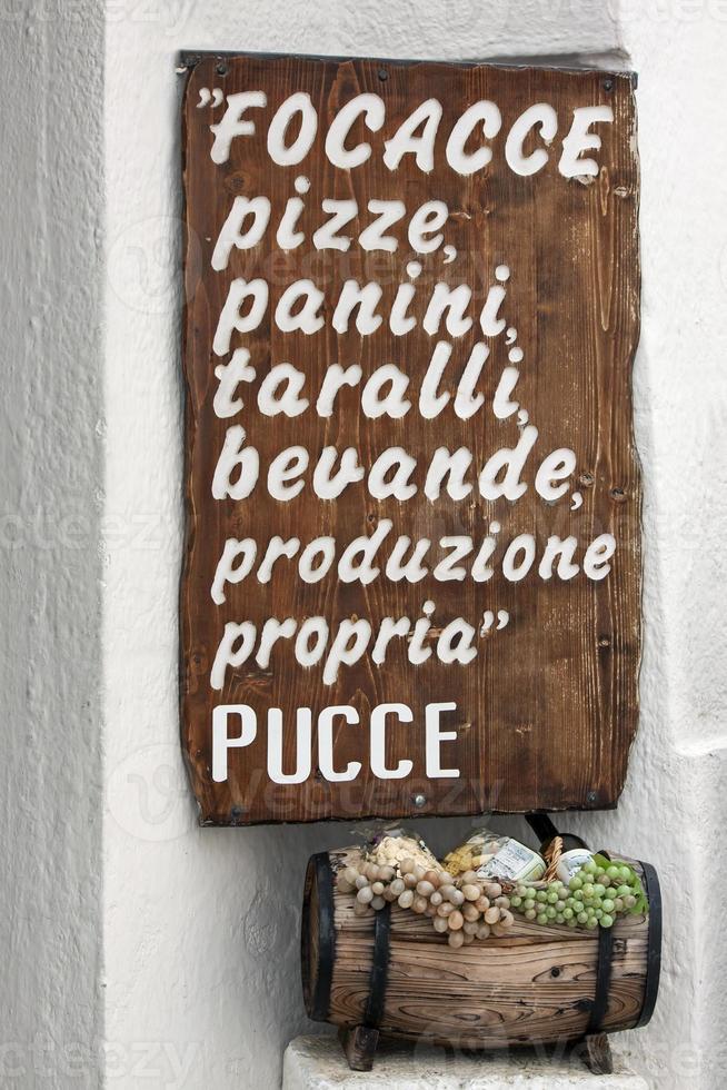 menu italien '- pouilles photo