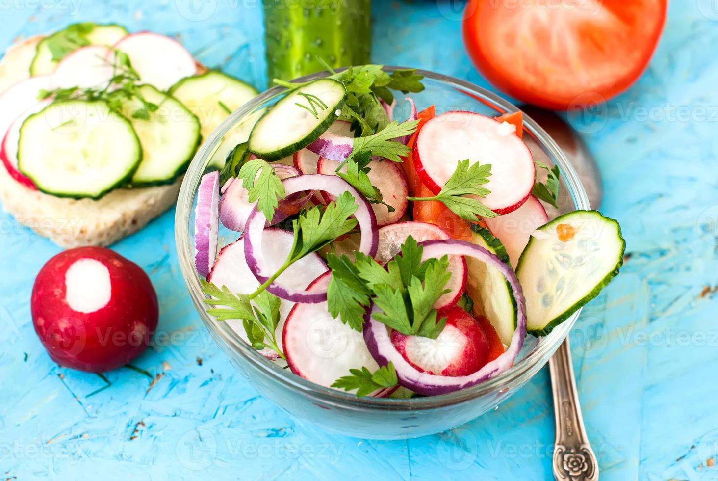 salade de printemps aux radis, concombre, chou et oignon en gros plan photo