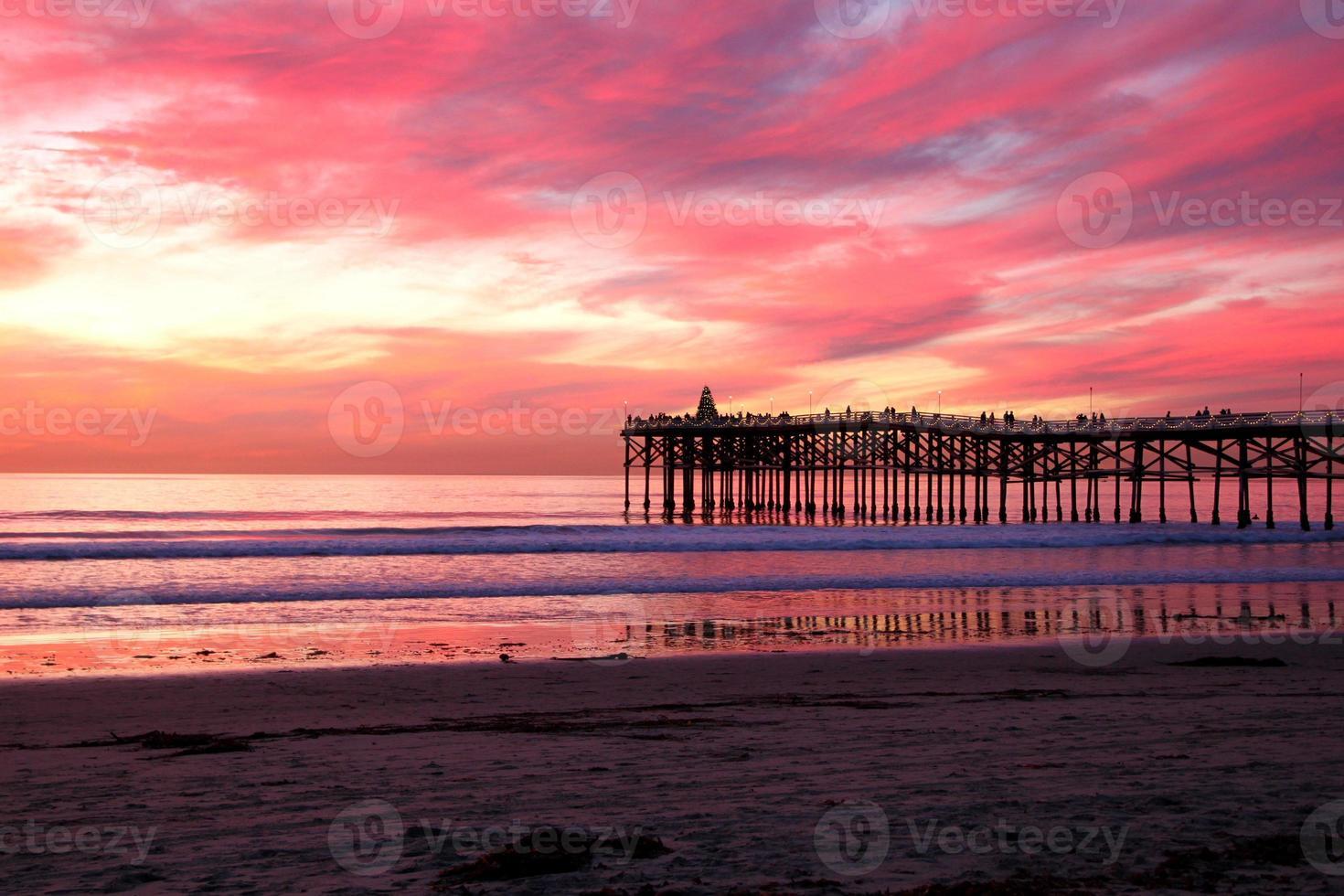 coucher de soleil plage rose photo