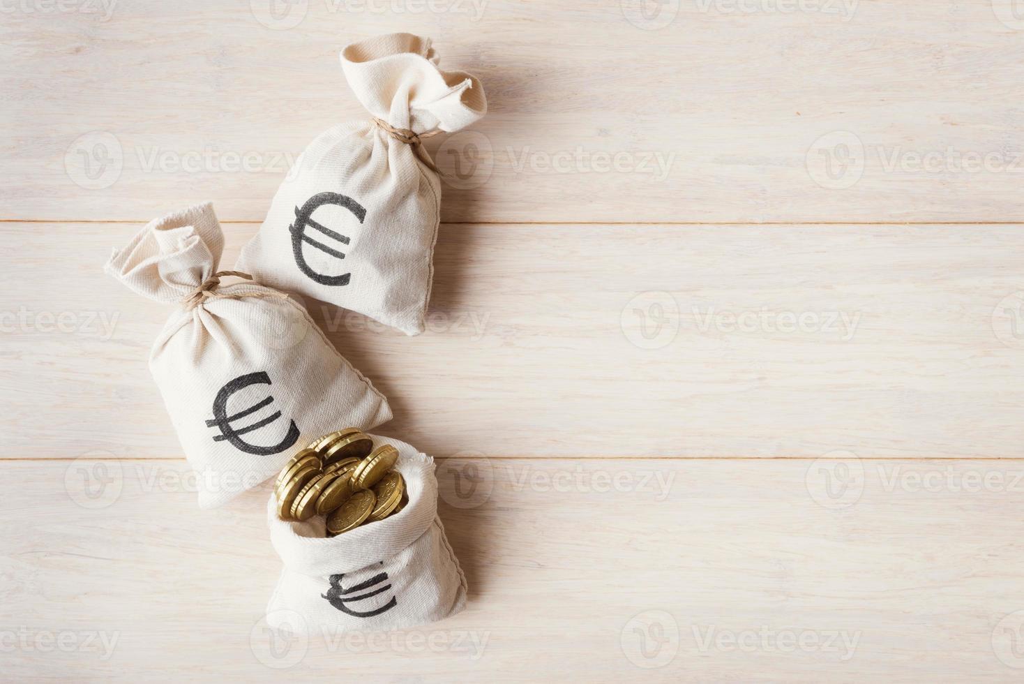 sacs d'argent avec des pièces en euros sur fond de bois clair photo