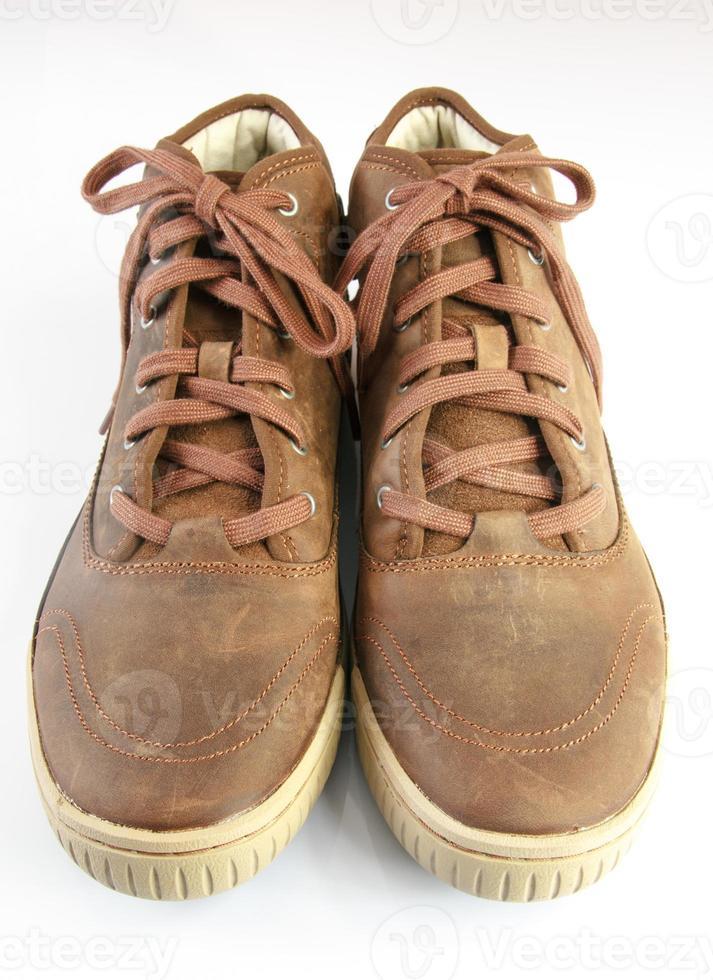 bottes isolé sur fond blanc, paire de bottes photo