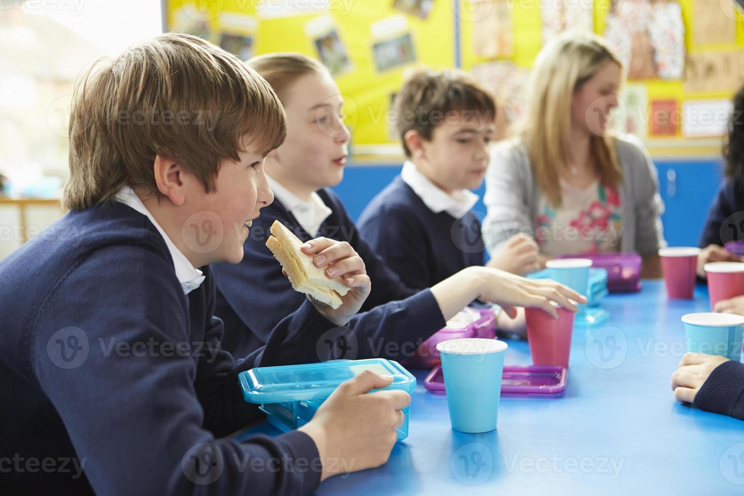 écoliers, prof, séance, table, manger, déjeuner photo