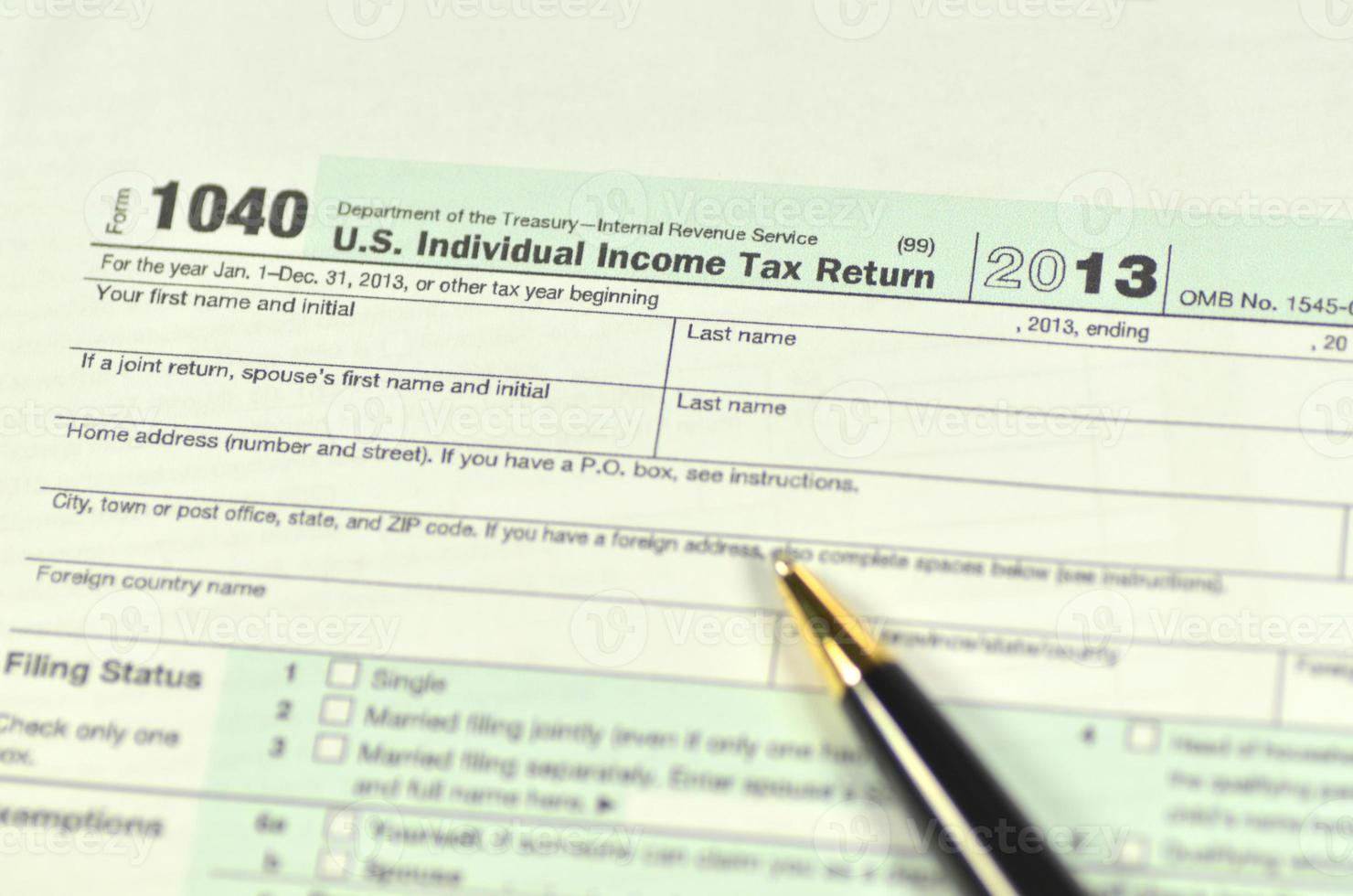 gros plan des formulaires fiscaux américains photo
