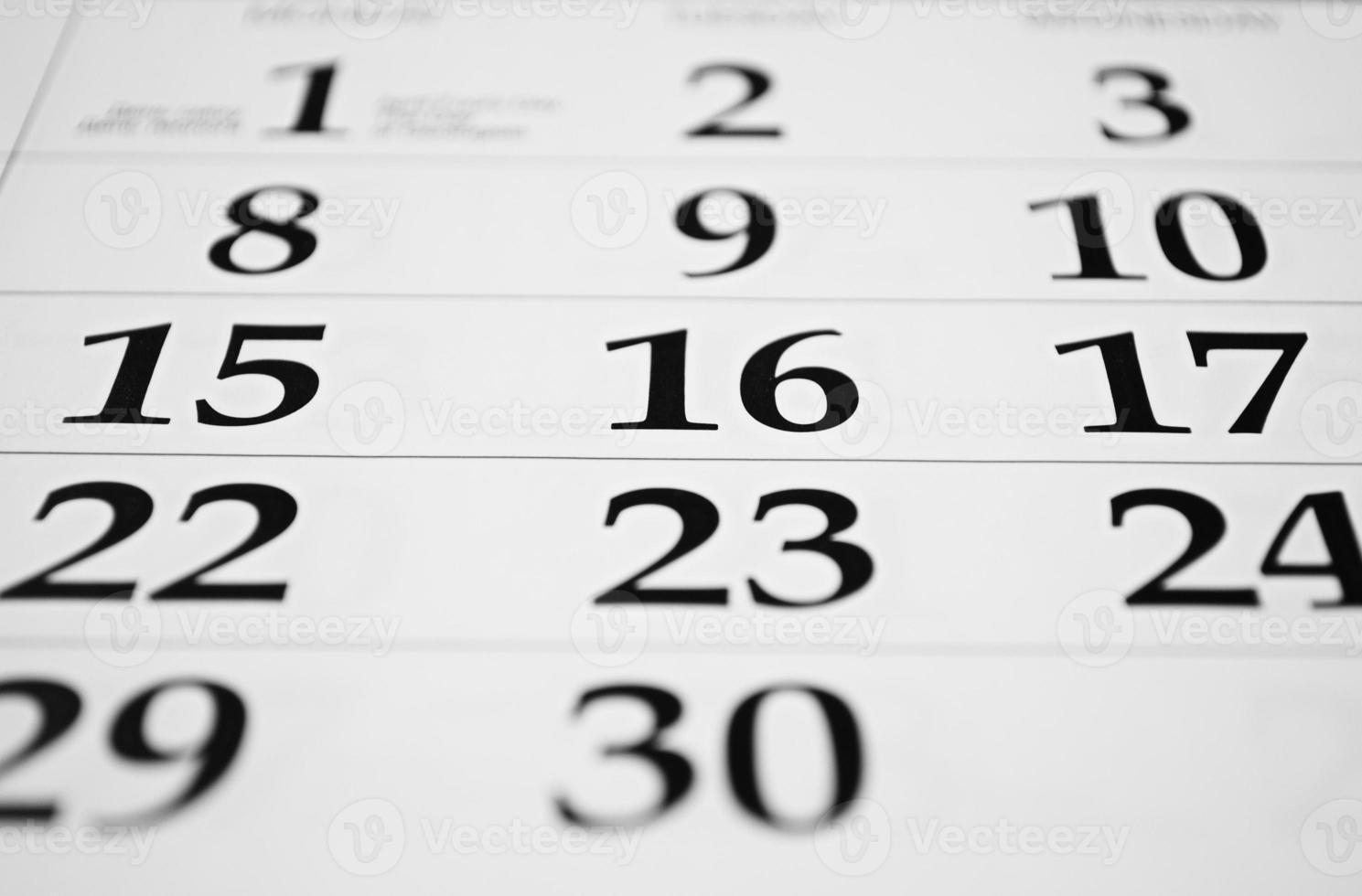 calendrier avec dates photo