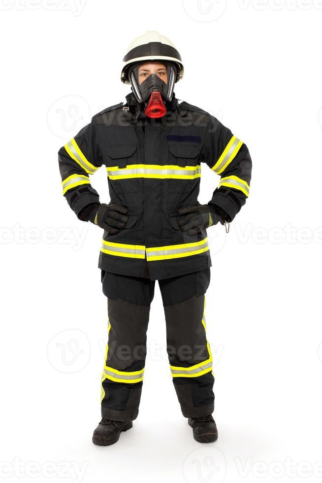 pompier avec masque et combinaison de protection photo