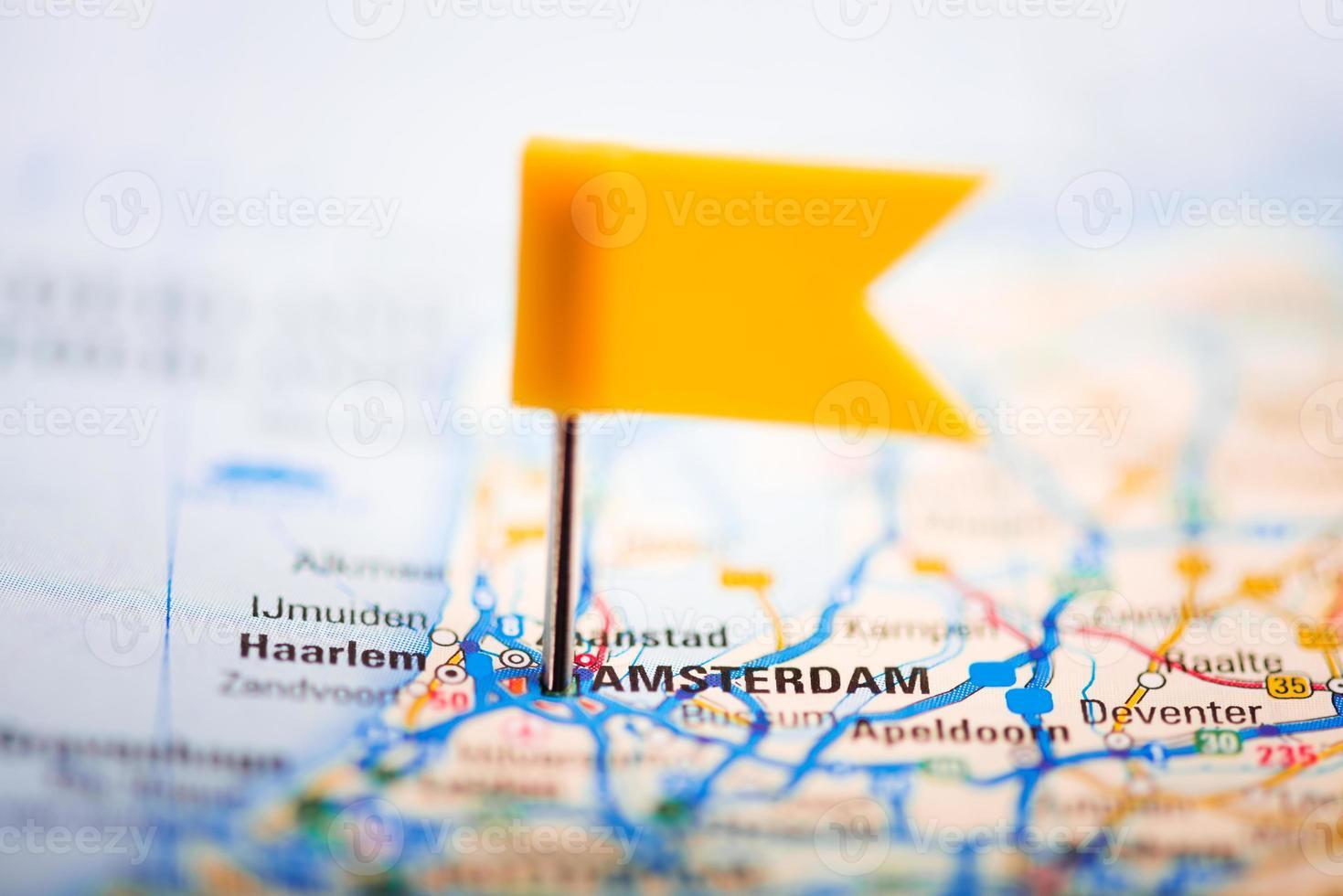 Amsterdam sur une carte photo