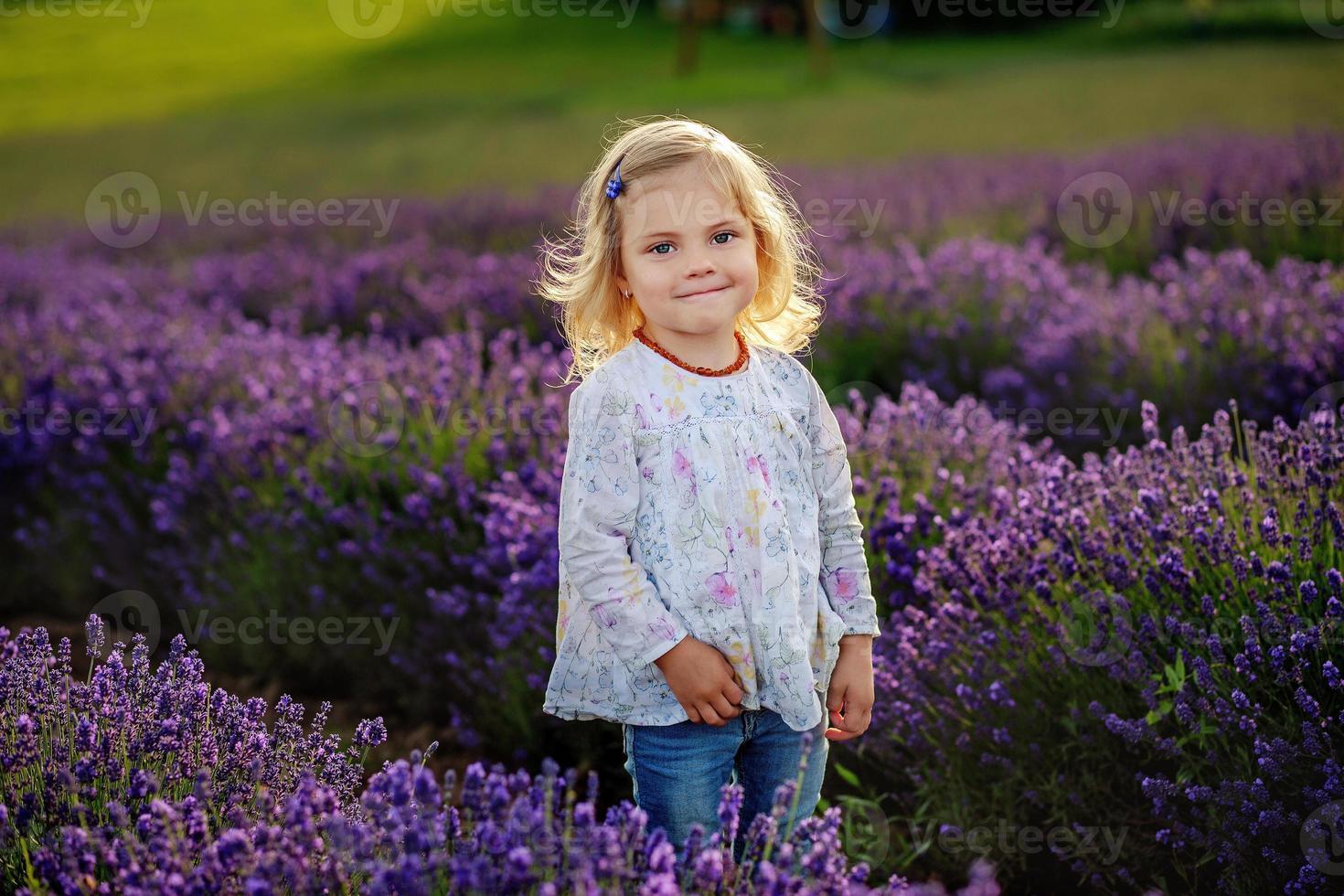 jolie petite fille dans un champ de lavande photo