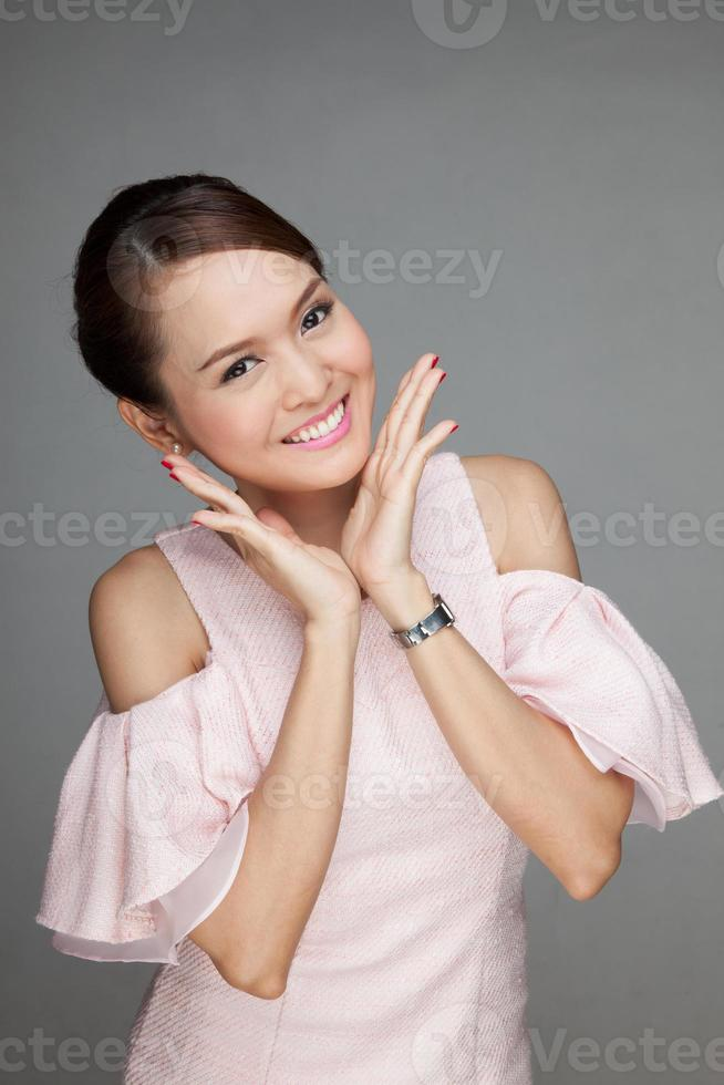 heureuse belle fille asiatique photo