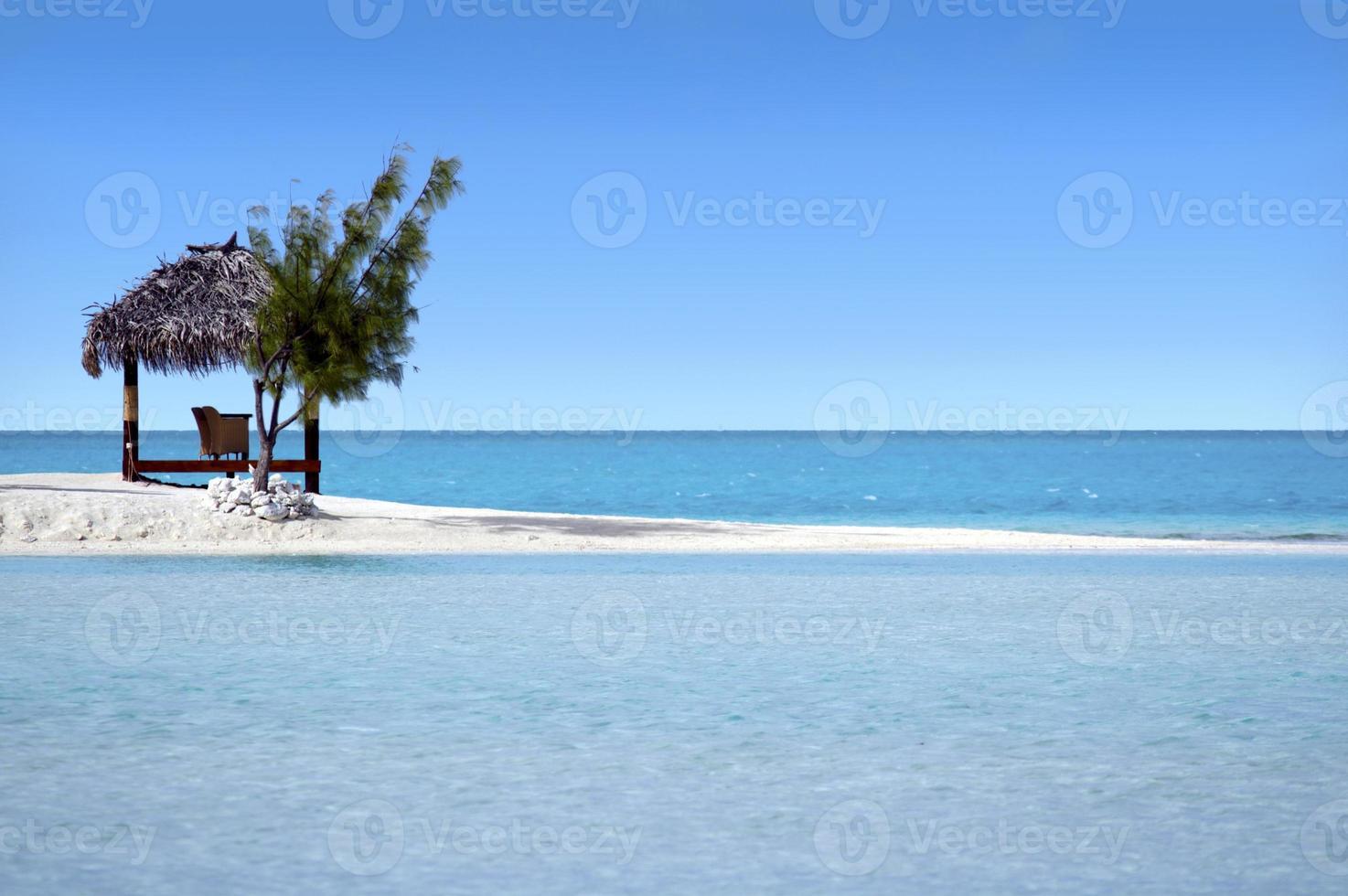 Paysage de l'île d'Arutanga dans les îles Cook de la lagune d'Aitutaki photo