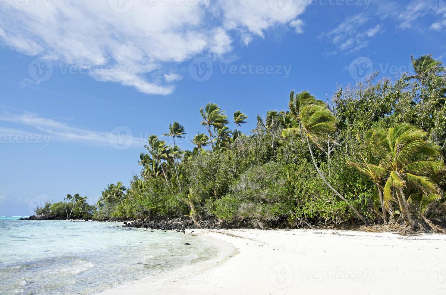 Paysage de l'île de Rapota dans les îles Cook de la lagune d'Aitutaki photo