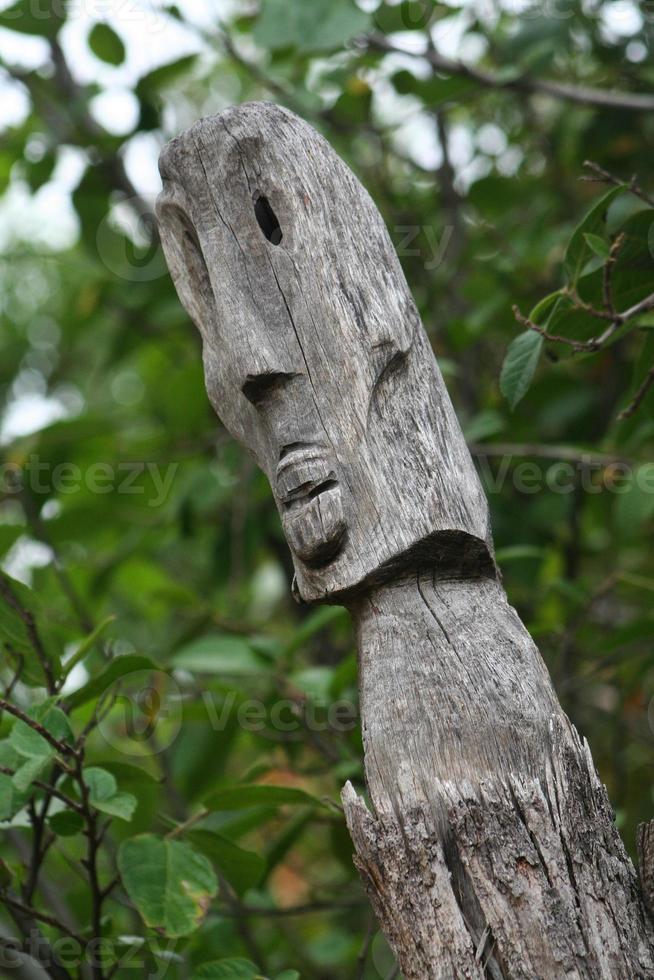 île polynésienne totem en bois sculpté photo