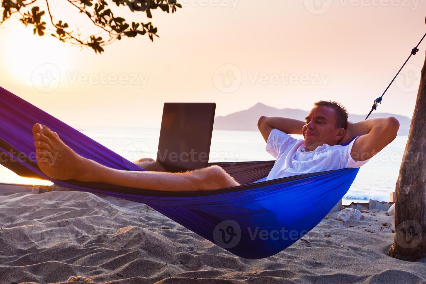 l'homme utilise un ordinateur portable à distance photo