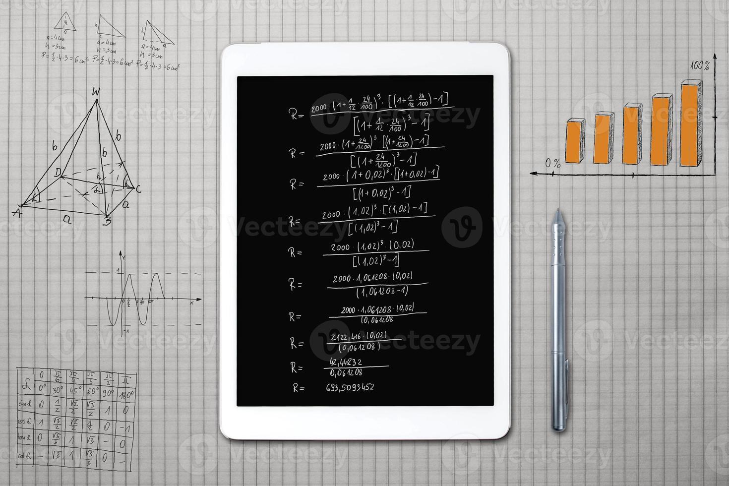 tablette et croquis mathématiques sur une feuille de carré photo