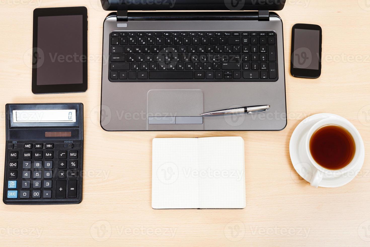 affaires, nature morte, -, vue dessus, de, table travail photo