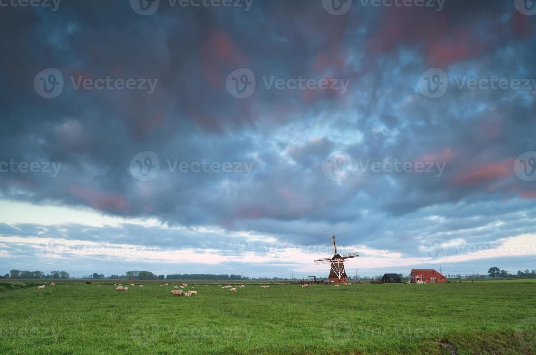 lever du soleil sur le moulin à vent hollandais photo