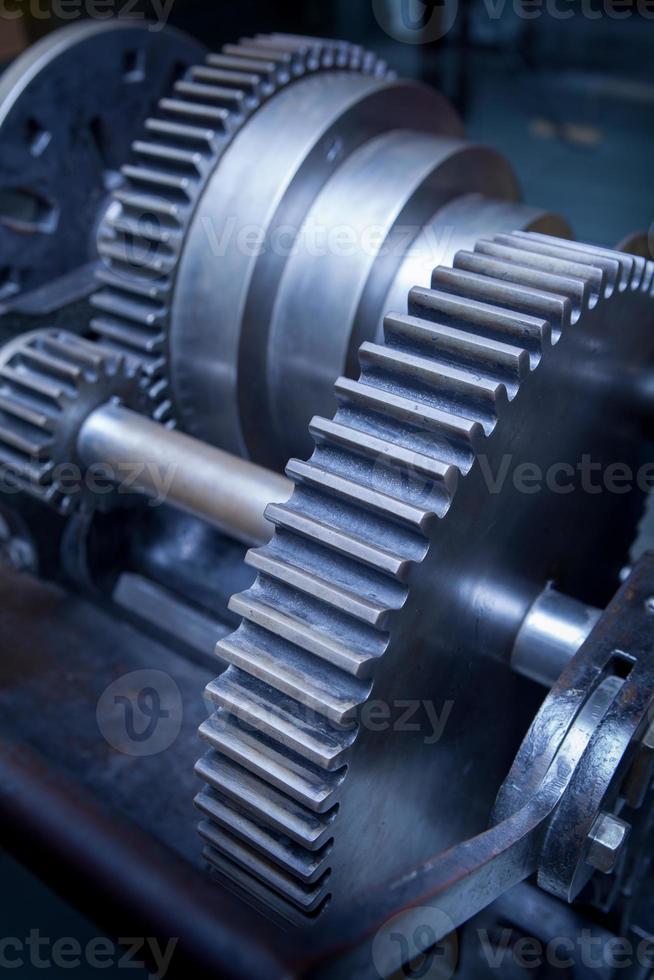 pignon de machine à engrenages de l'industrie, coopération commerciale, travail d'équipe et concept de temps photo