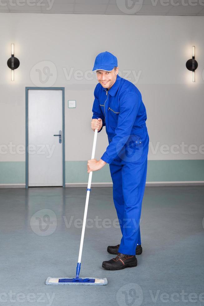 travailleur, nettoyage, plancher photo