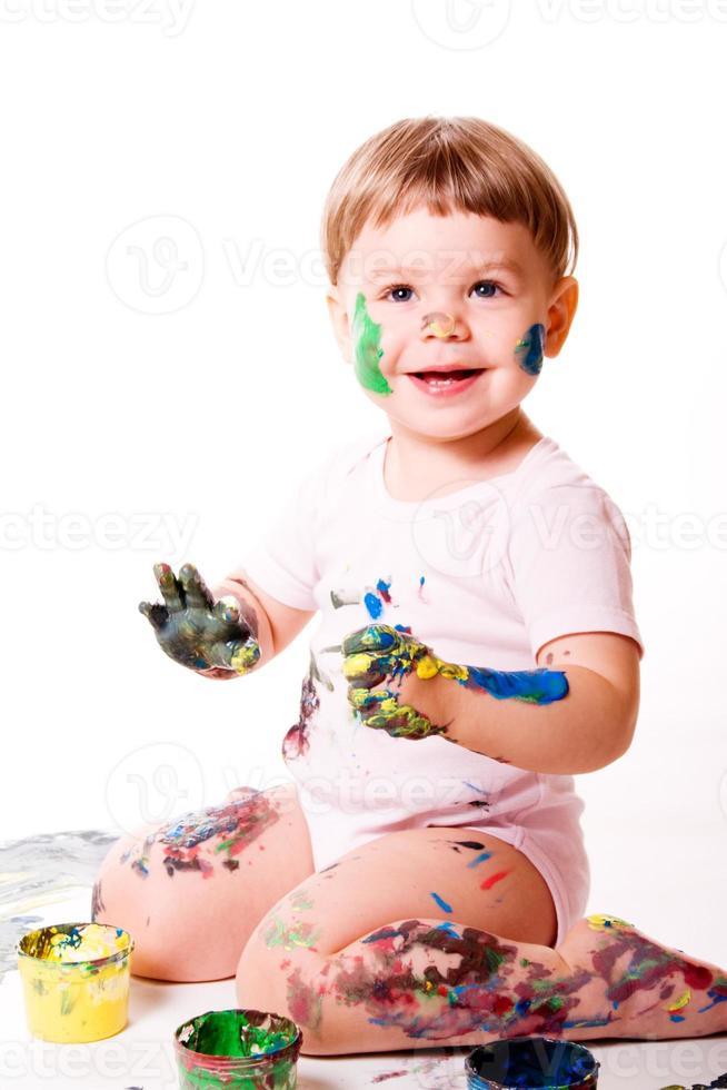 peinture au doigt enfant photo