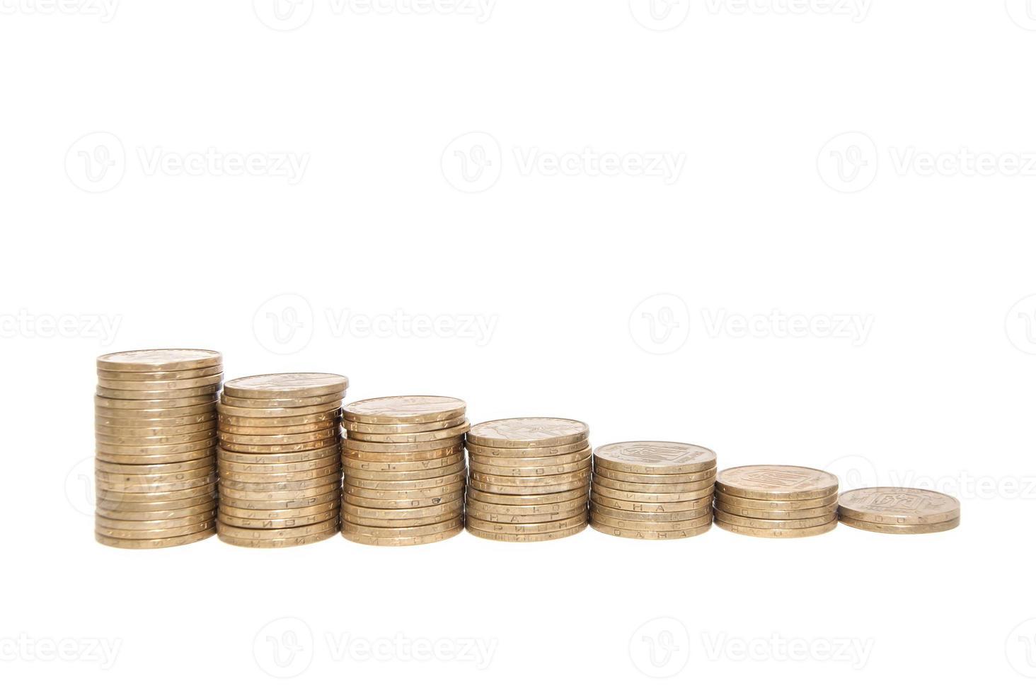 graphique avec monnaie montre le succès et la croissance des affaires photo