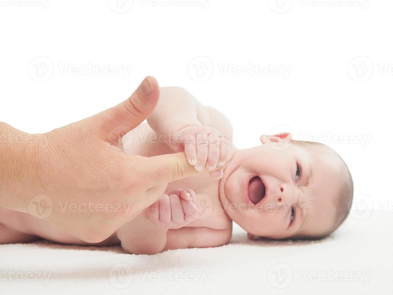 pleurer, petit, caucasien, bébé garçon, tenir femme, doigt photo
