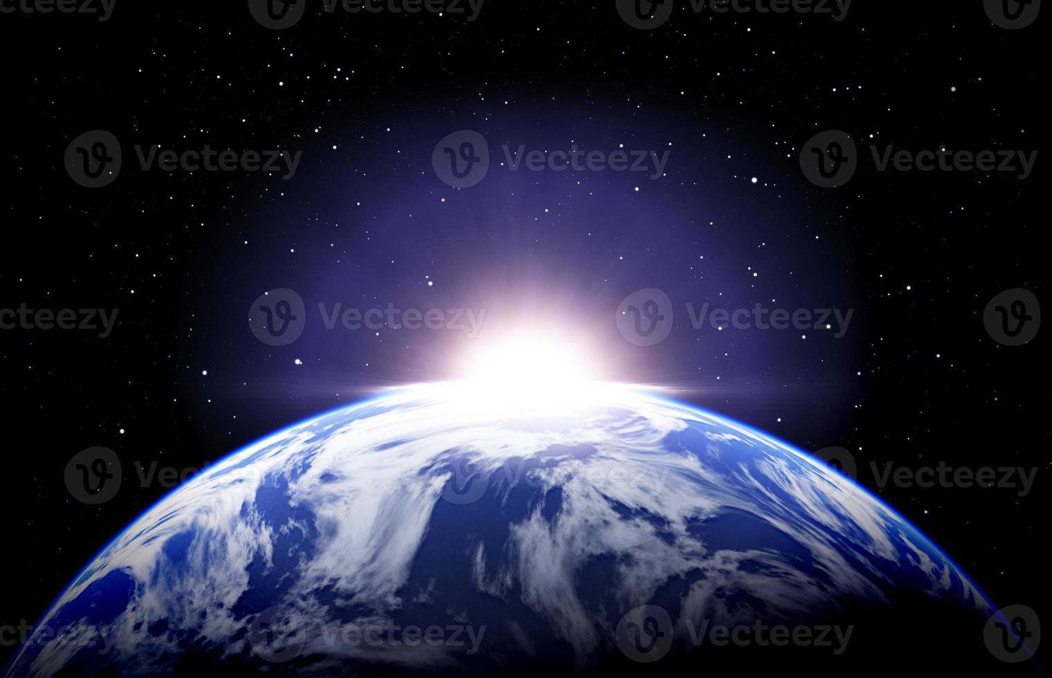lever du soleil de la terre avec des nuages et des étoiles photo