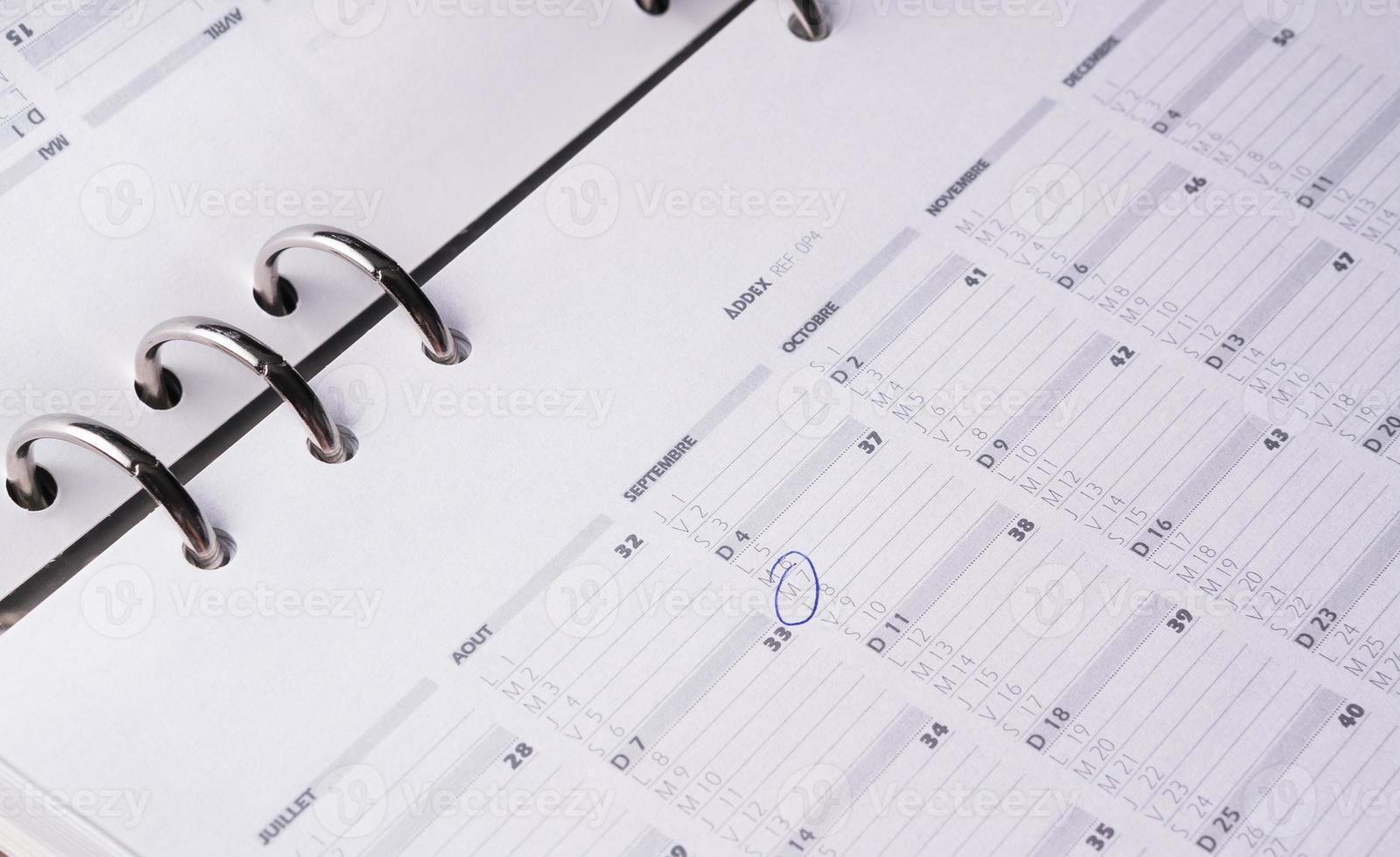 calendrier d'agenda ouvert aux entreprises photo